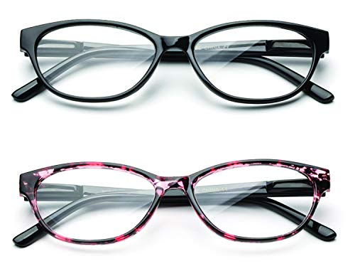 Newbee Fashion Cateye Clear Lens Glasses for Women Cat Eyes Frame with Spring Hinge - 2 Pack