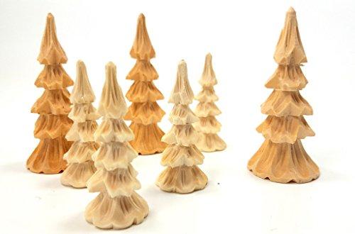 Laubsägen Bäume geschnitzt, 6 cm, 6 er Set,zur Bestückung von Pyramiden oder Schwibbögen (5 cm)
