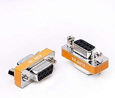 DB9 null modem female to female slimline data transfer serial port adapter 2 Pack