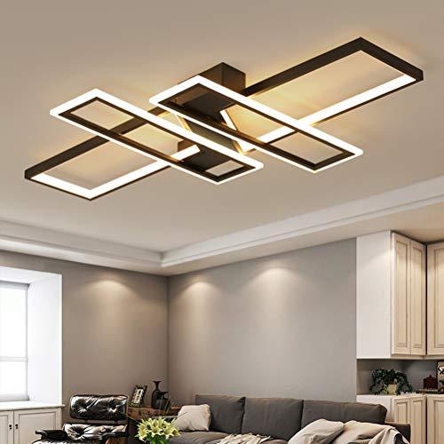 Modern LED Deckenleuchte,4-Ring Design Deckenlampe mit Fernbedienung Dimmbar,Wohnzimmerleuchte Schlafzimmerlampe Esszimmerlampe Metall Acryl Decke Leuchter für Schlafzimmer Wohnzimmer