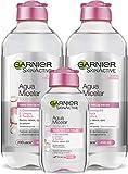 Garnier Skin Active Agua Micelar Clásica Todo en Uno, limpia, desmaquilla y tonifa todo tipo de pieles, 2 x 400 ml + 1 x 100 ml