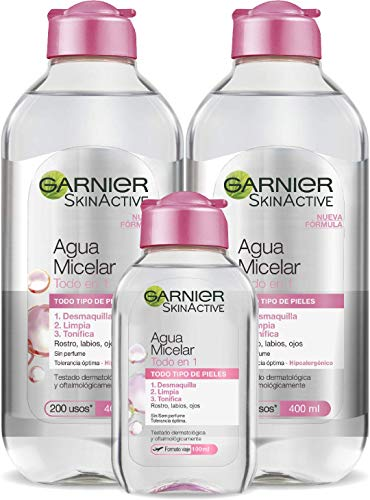 Garnier Skin Active Agua Micelar Clásica Todo en Uno, Desmaquillante, Limpiador Facial, Limpia Rostro, Labios y Ojos, Sin Aclarado, para Todo Tipo de Pieles, 2 x 400 ml + 1 x 100 ml