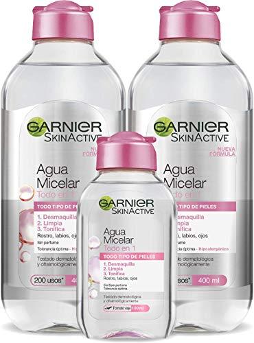 Garnier Skin Active - Agua Micelar Clásica Todo en Uno, Pieles Normales, 2 x 400 ml + 1 x 100 ml