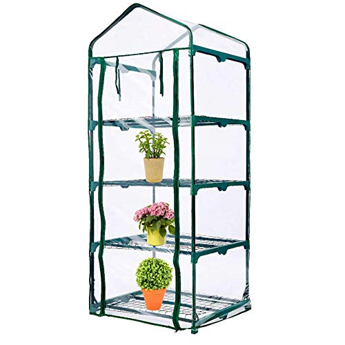 SHANGXING 4 Tier Roll-Up Zipper Door Greenhouse Replacement Cover-Clear PVC Plant Greenhouse Cover for Gardening Plants Cold Frost Protection Wind Rain Proof (Frame NOT Include)