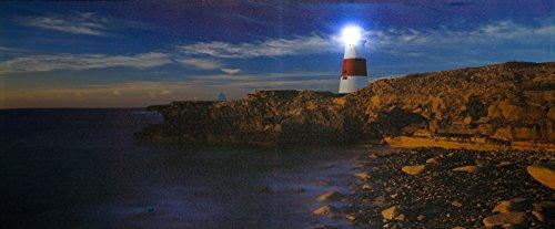 XXL LED Bild Steinküste mit Leuchtturm.000116 Leuchtturm mit LED Lampe Licht XXL Bild, riesig , LED Stimmungsbild mit 1 LED und 120 cm Breit x 50 cm Hoch Batteriebetrieb , nur 0,06W, Leuchtbild auf Leinwand mit An und Ausschalter , Batterien inklusiv