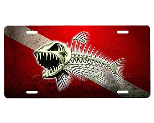 onestopairbrushshop Dive Flag License Plate