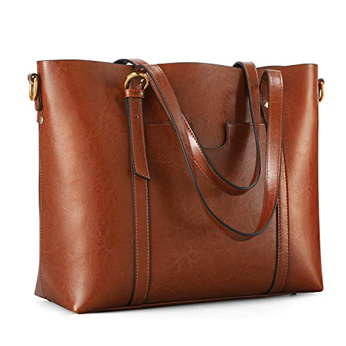 Kattee Women's Genuine Leather Tote Bag Vintage Large Capacity Satchel Work Purses and Handbags with Ajustable Straps(Dark Brown)