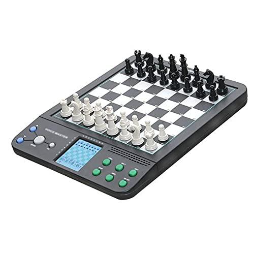 LANHA Juego de ajedrez y Damas electrónico, Estrategia de práctica de ajedrez por computadora Juegos de Mesa portátiles, Juego de Tablero de ajedrez de Viaje para niños Adultos