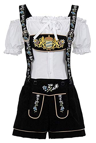 Moonight Women's Oktoberfest Lederhosen Costume,Beer Girl Costume,Oktoberfest Serving Adult Dirndl Dress (4XL/5XL, Black)