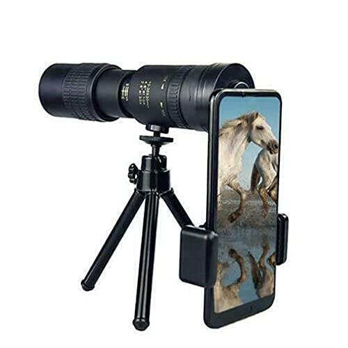 BLNAERYY Arctic P9 - Telescopio militar - 4K 10-300X40mm - Telescopio monocular con zoom súper teleobjetivo, bolsillo portátil HD BAK4 Prism Trípode impermeable para teléfono con clip para teléfono