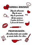 Pegatinas Pared NUESTRA RECETA Citas Inspiradoras Vinilo Negro y Rojo Frases Motivadoras Letras Stikers Decorativos Cocina Comedor Habitación Dormitorio Salón Oficina
