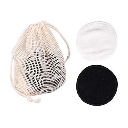 Minkissy 20Pcs Démaquillant Bouffées Tampons de Nettoyage de Maquillage à Double Couche avec Sac à Linge Visage Cosmétique Enlever Le Tissu Mat pour Les Femmes
