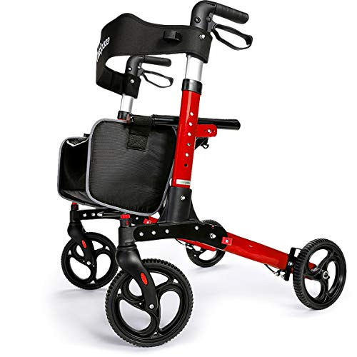 OasisSpace Ultra Folding Rollator Walker with Wide Seat 8 inches Antiskid Wheels Compact Design Baking Finish Walkers for Senior (Red)