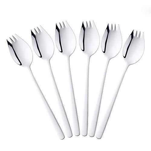 6 Piezas 2 en 1 Multifunción Spork (cuchara y tenedor), Bisda 304 de Acero Inoxidable Plata Cuchara y Tenedor Set para Fideos, Pasta, Fruta, etc., Aptas para el Lavavajillas