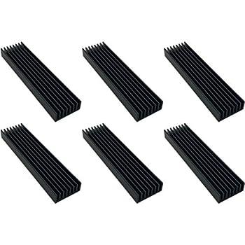Easycargo 6pcs 100mm x 25mm x 10mm Heatsink Aluminium Radiator Cooler Heat Sink for Cooling LED Power Amplifier  100mmx25mmx10mm   Black