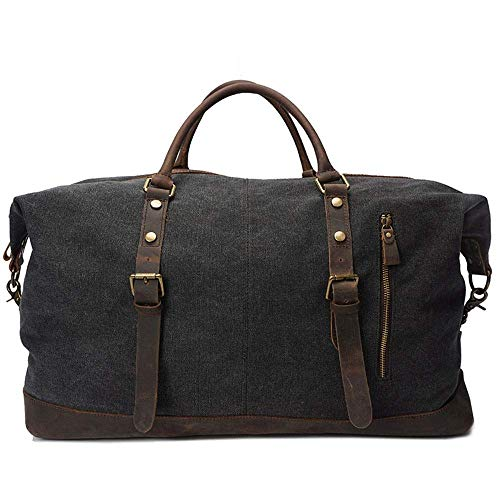 LSNLNN Bags,Men and Women Canvas Bag Retro Waterproof Outdoor Travel Large Capacity Shoulder Bag Luggage Bag 54 X 26 X H32Cm Colorful,Black