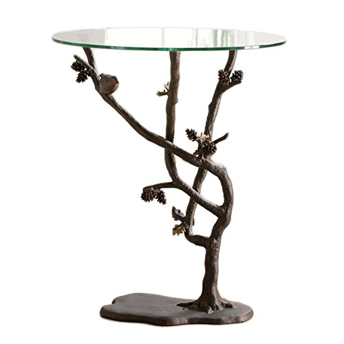 SPI Glass Top Bird and Pinecone Metal End Table