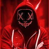 LED Máscaras Halloween, Purge Mask para Carnaval, Led Mascaras 3 Modos de Lluminación, Adultos LED Mask para Fiestas de Disfraces, Navidad, Carnavales, Cosplay