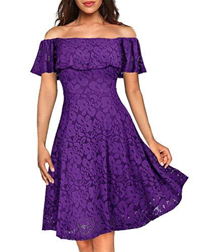Kidsform Damen Schulterfreies Kleid Elegant Abendkleid Vintage Spitzenkleid Cocktail Party Brautkleider für Hochzeit Ballkleid Lila 2XL