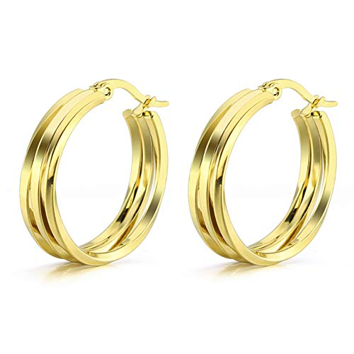 Yumay 9ct Yellow Gold Filled Hoop Earrings with 3 Layer Twist Design for Women or Girls(25MM).