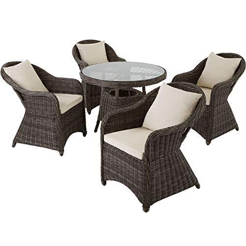 TecTake 800828 Conjunto de ratán Zúrich con Cuatro sillones, Set de Muebles de jardín, Conjunto de Mesa y sillas de poliratán, Mobiliario de Exterior (Gris)