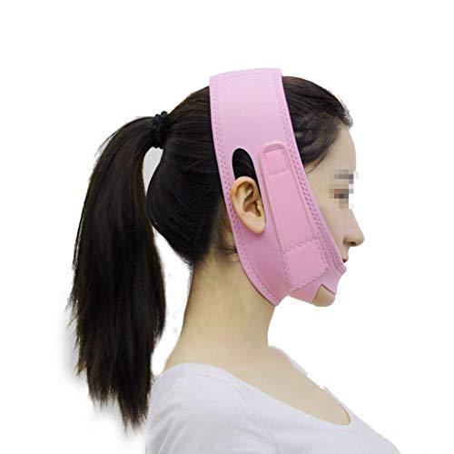 XYSQWZ Bandage De Masque Facial Sommeil avec L'outil Raffermissement Levage Forme Sculpture en Ligne V Au Double Menton Rose