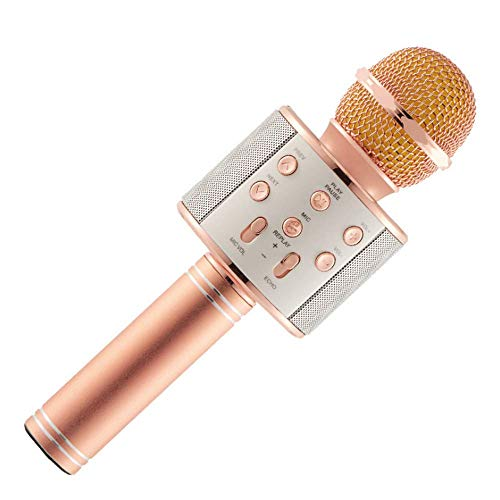 ACESQUARE MS-888 Wireless Microphone for Karaoke Mic   Portable Mic   Singing Mic & Bluetooth Speaker Compatible with iPhone   iPad   iPod   & All Android Smartphones - Assorted Colours (Rose Gold)