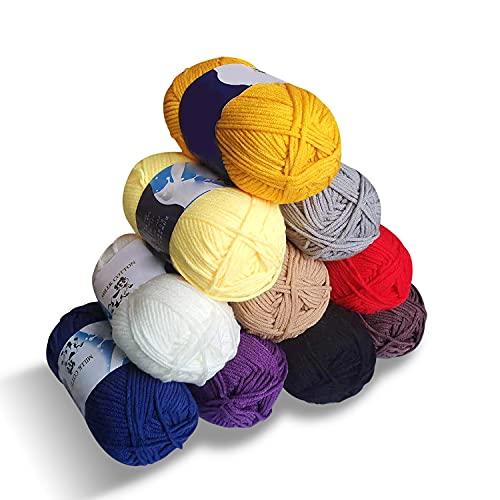 Maxee 10x50g Wolle, Acrylgarn, Garn Stricken, Garn zum Häkeln und Stricken, Hand Knitting Yarns, Benutzt für Häkeln und Kunsthandwer