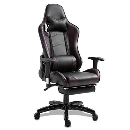 None Brand Silla ergonómica reclinable de Carreras con reposabrazos Giratorio reclinable para Juegos marrón