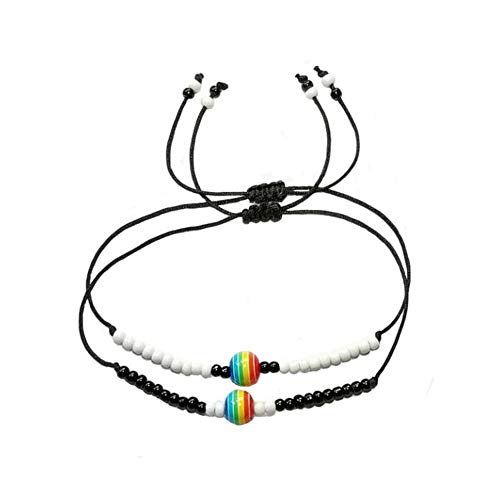 NJ Gay Pride Bracelet - Water-Proof Unisex Handmade Cord Bracelet Anklet Rainbow Pride Beads Couples Bracelet Gay Lesbian LGBT Bracelets for Him,Her,BFF,Sisters with Gift Card