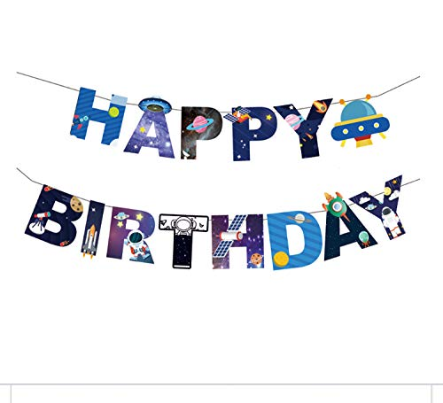 PARTYKA Outer Space Happy Birthday Banner - Happy Birthday Bunting Garland Birthday Party Decorations Supplies Solar System Happy Birthday Banner for Boys with a Ribbon