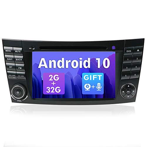 SXAUTO Android 10 Autoradio Compatible Mercedes Benz Classe E W211 CLS W219 - [2G+32G] - Gratis Cámara Trasera Canbus - 2 DIN 7 Pulgada - Soporte Dab 4G WLAN Bluetooth5.0 Carplay Volante Android Auto