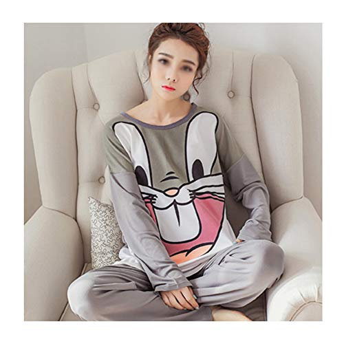 LASIMAO Juego de Pijamas de Las señoras, Traje Casual de Ropa de hogar, Ropa de Dormir de Dibujos Animados de Cuello Redondo Conjunto de algodón de Manga Larga Pijamas Conjunto,O,M