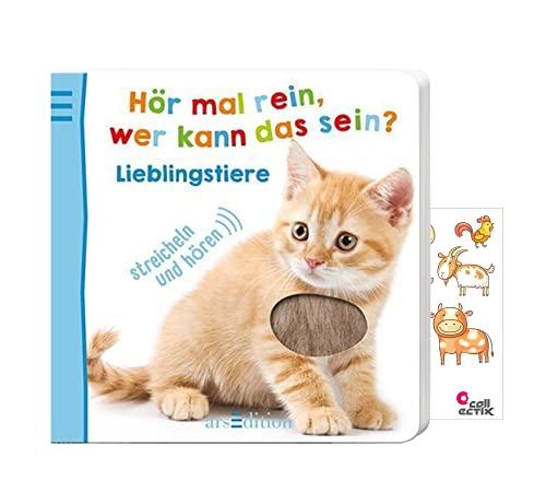 Buchspielbox Hör mal rein, wer kann das Sein? Lieblingstiere (Soundbuch ab 18 Monate) + 1x Tiersticker
