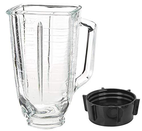 Set mit 5 quadratischen Glasbehältern und Basiskappen, passend für Oster Mixer