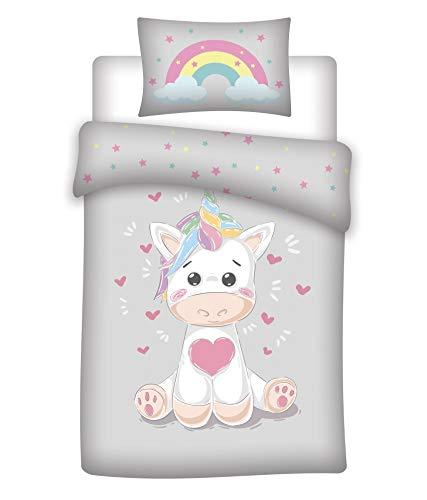 Aymax Bonito juego de ropa de cama infantil con diseño de unicornio, reversible, funda de edredón de 100 x 135 cm, funda de almohada de 40 x 60 cm, 100% algodón, arcoíris