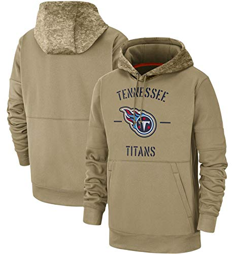 XYEQX Herren Hoodies-Titans Hoodie, American Football Kapuzenpullover Pullover Sportswear Langarm Sweatshirt Rugby Fußballjacken-Lightkhaki-M(175-180)