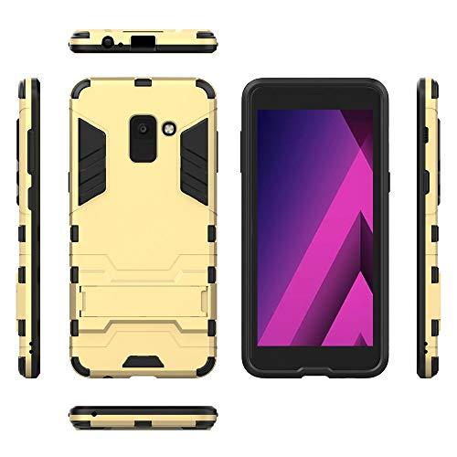 COOVY® Funda para Samsung Galaxy A8 SM-A530 / SM-A530N / SM-A530F/DS (Model 2018) de plástico y Silicona TPU, extrafuerte, con protección contra Golpes, Funda con función Atril | Color Oro