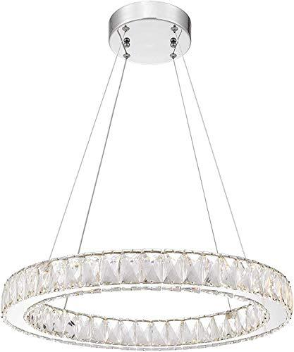 LAMPARA LED COLGANTE ARO DIAMANTES CRISTAL (BLANCO CALIDO) (DIAMETRO 30)