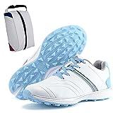 Shhyy Zapatos De Golf Ligeros Impermeables para Mujer-Bolsa De Zapat,Calzado De Golf Antideslizantes Transpirables para Cancha De Entrenamiento De Golf para Exteriores E Interiores-Sneakers,Azul,36