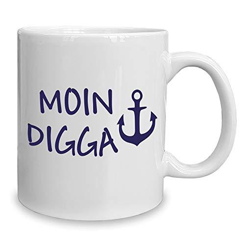 Shirt Department - Kaffeebecher - Tasse - Moin Digga Weiss-dunkelblau