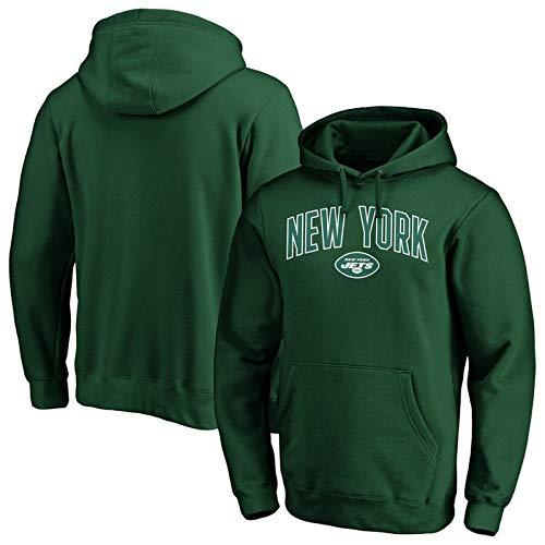 Mens Hoodie New York Jets Fan Fußball Casual Tops mit Taschen, Sportkleidung Trainings Trikots Langarm-Sweatshirts,XL