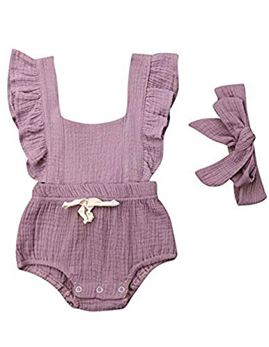 Viworld Infant Baby Girl Twins Bodysuit Sleeveless Ruffles Romper Sunsuit Outfit Princess Clothes (Pink, 0-6 Months)