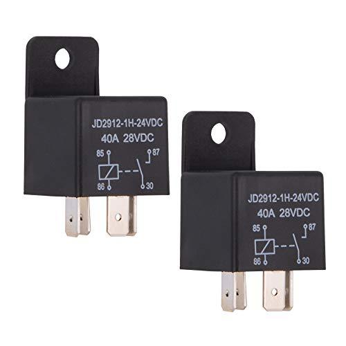 Ehdis® Coches relé 4 Pin 24v 40amp Spst Modelo No .: JD2912-1H-40A 24VDC 28VDC de los detectores magnéticos y Entrantes, Paquete de 2