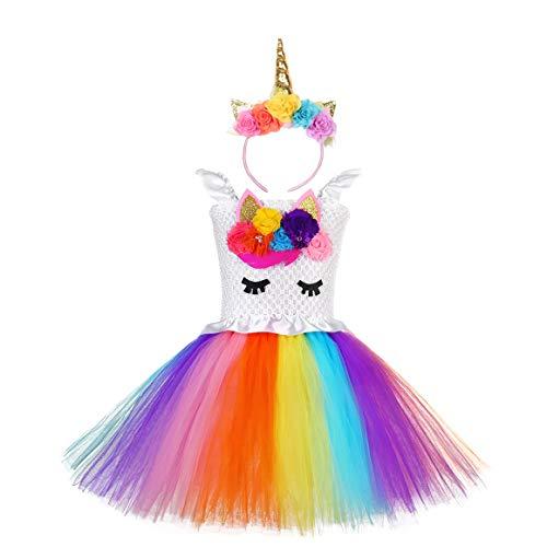 Ruiuzi Enfant Fille D/éguisement Licorne Tutu Robe Danse Ballet Robe Princesse sans Manche Tulle Robe Soir/ée et Serre-t/ête Licorne Costume Halloween Carnaval 2-12 Ans