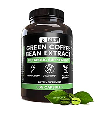Green Coffee Bean Extract (365 Capsules) 50% Chlorogenic Acid, 100% Pure & Natural, Non-GMO & Gluten-Free (840 mg Serving)