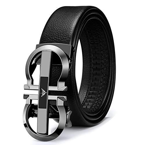 WilliamPolo Mens Leather Belt, Ratchet Belt with Automatic Sliding Buckle (Black-06, 36″-39″ Waist Adjustable)