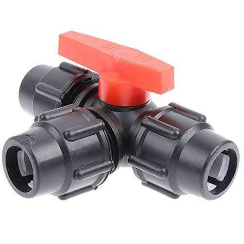 MDD Valvola del Tubo di Connessione Rapida A Tre Vie PE, Valvole di Plastica Valvola A T Valvola A T Diametro Interno 20/25/25/40/50 / 63mm (Color : Black, Size : 20mm)