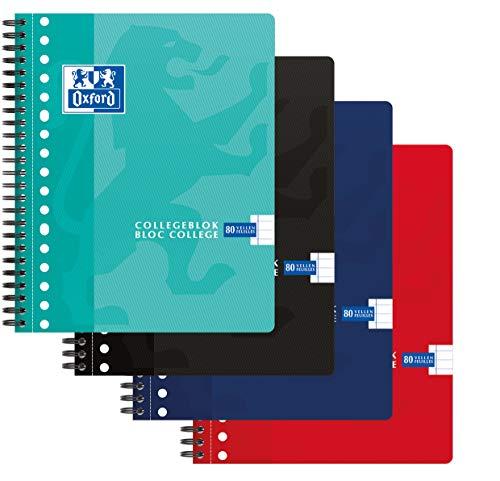 Oxford Collegeblock 5er Pack 4 Farben A5+ Liniert 17 Löcher 160 Seiten 90g Flexibler Kartondeckel
