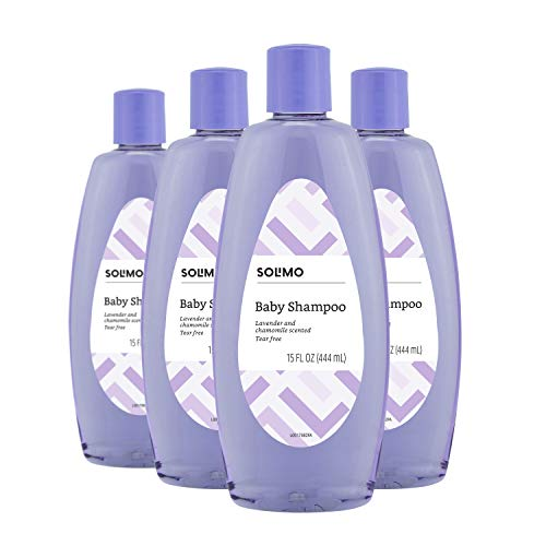 Amazon Brand - Solimo Baby Shampoo, Lavender & Chamomile Scented, 15 Fluid Ounce (Pack of 4)
